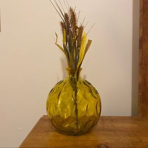 None Accents - Bohemian Yellow Stained Embossed Glass Vase Floral